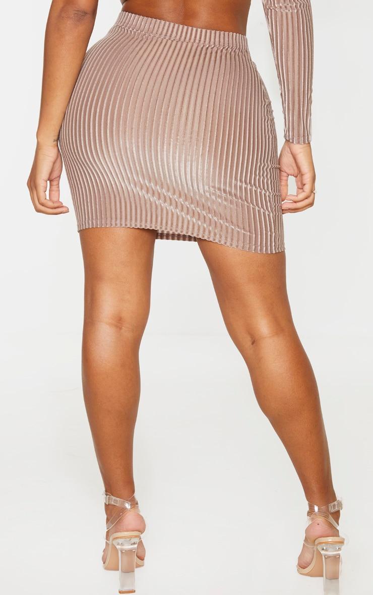 Shape Mocha Striped Velvet Bodycon Skirt 4