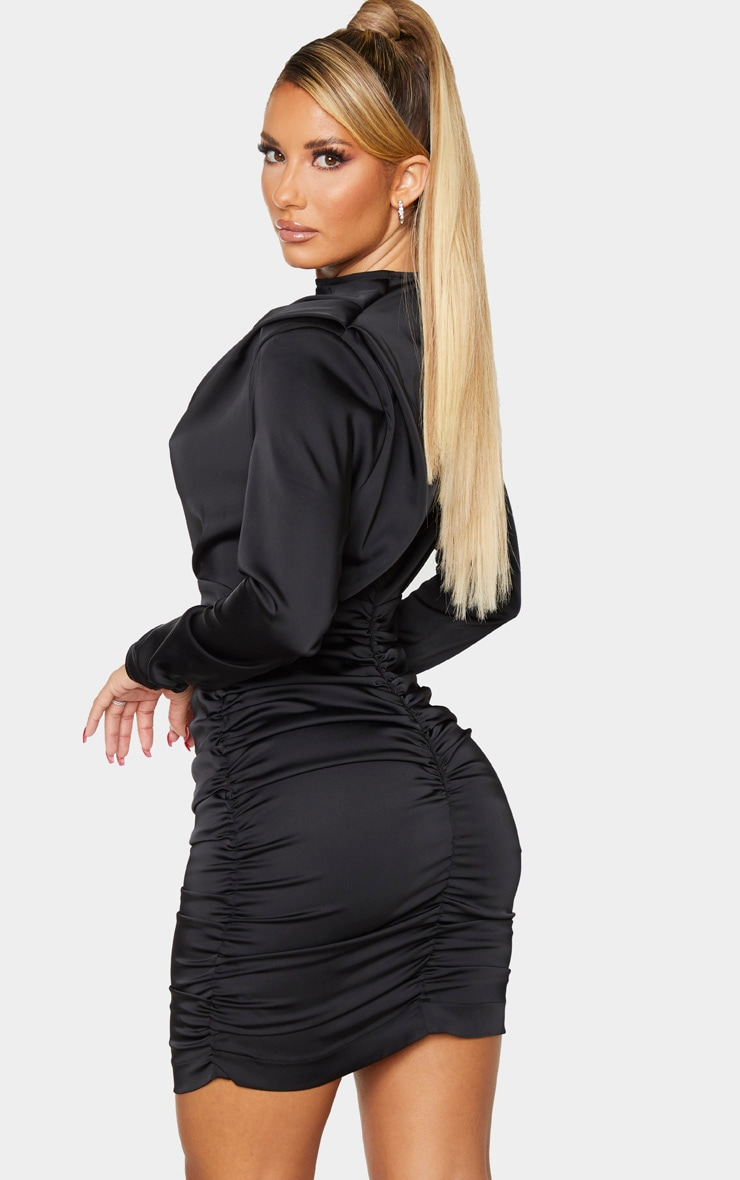 Black Ruched Detail Long Sleeve Bodycon Dress 2