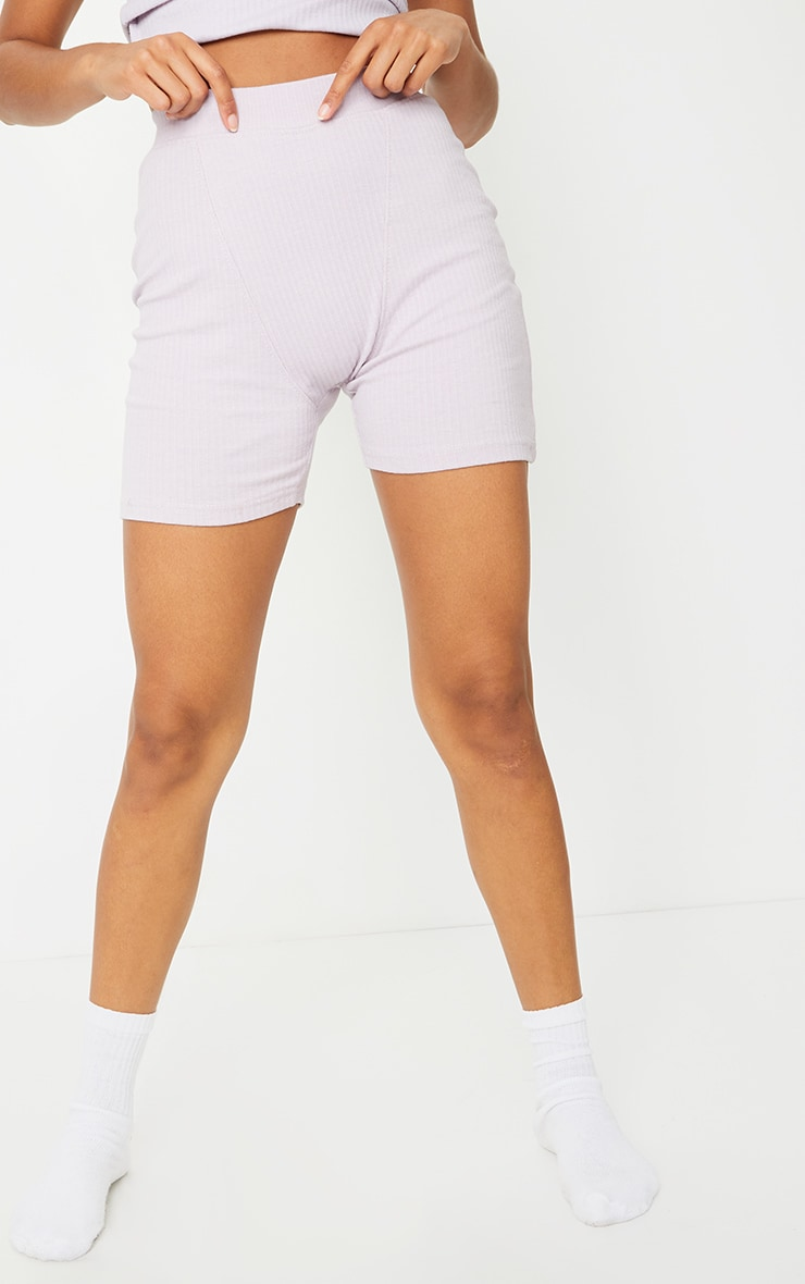 Lilac Structured Rib Seam Detail Shorts 2