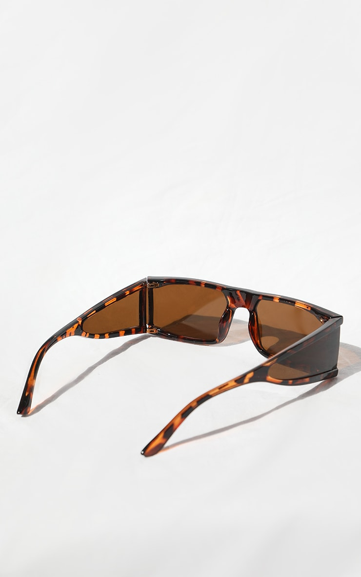نظارة شمس بلون بني بنقشة صدف وإطار مربع سميك 3