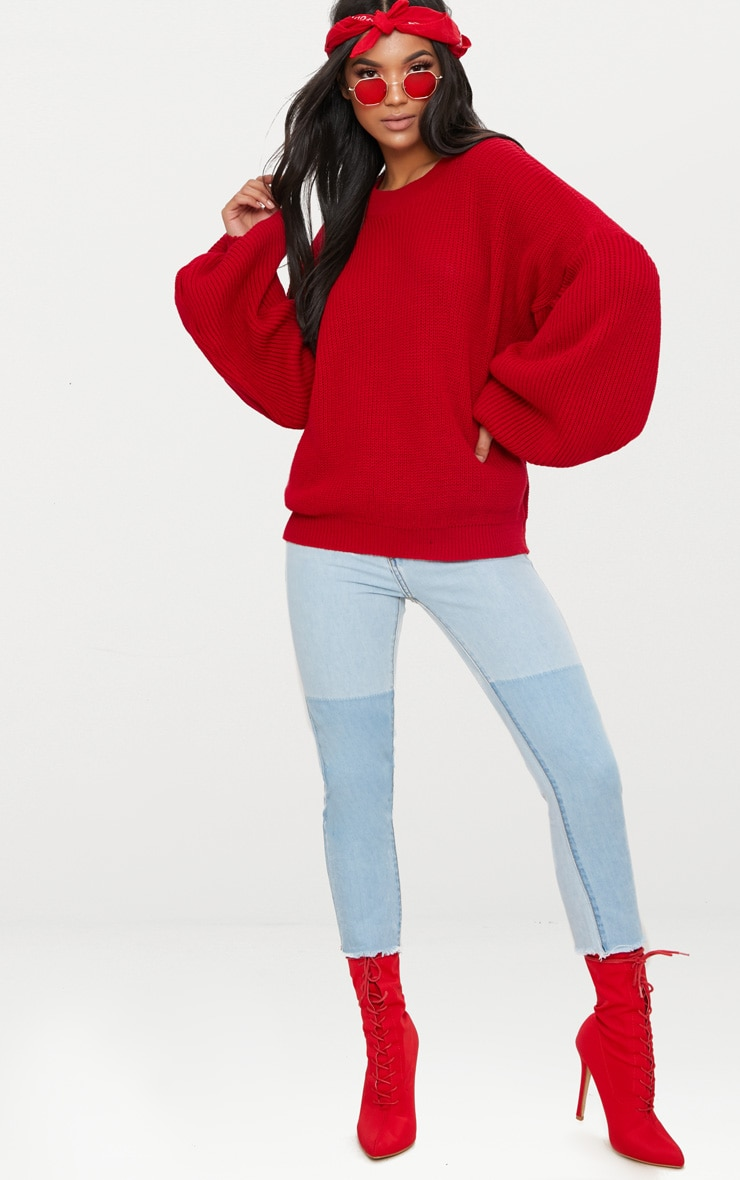 Red Extreme Balloon Sleeve Jumper 4