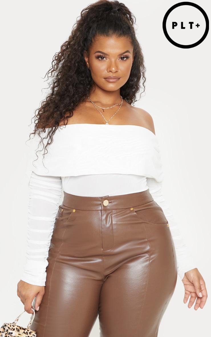 Plus White Mesh Bardot Ruched Sleeve Bodysuit  1