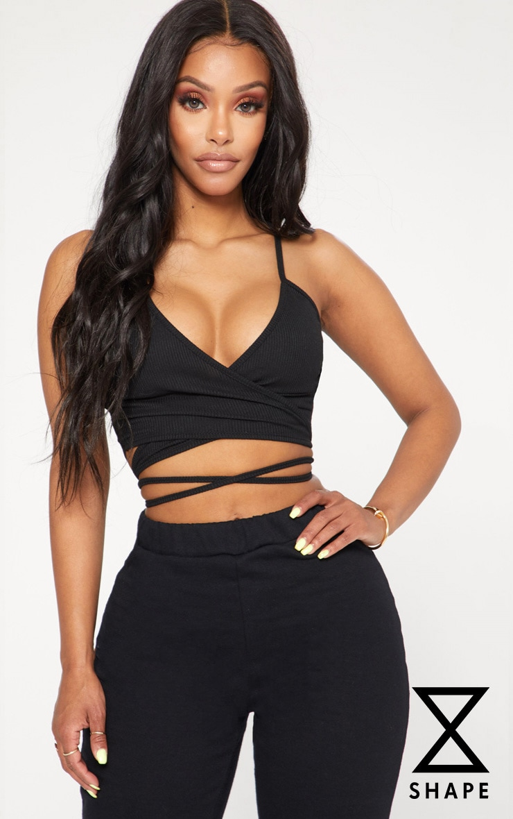 Shape Black Ribbed Wrap Waist Detail Crop Top