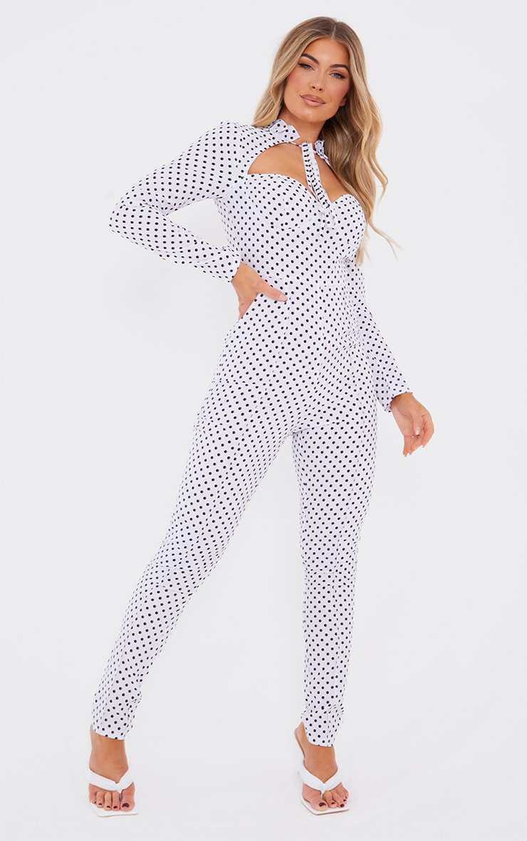White Polka Dot Tie Neck Cup Detail Long Sleeve Jumpsuit 1