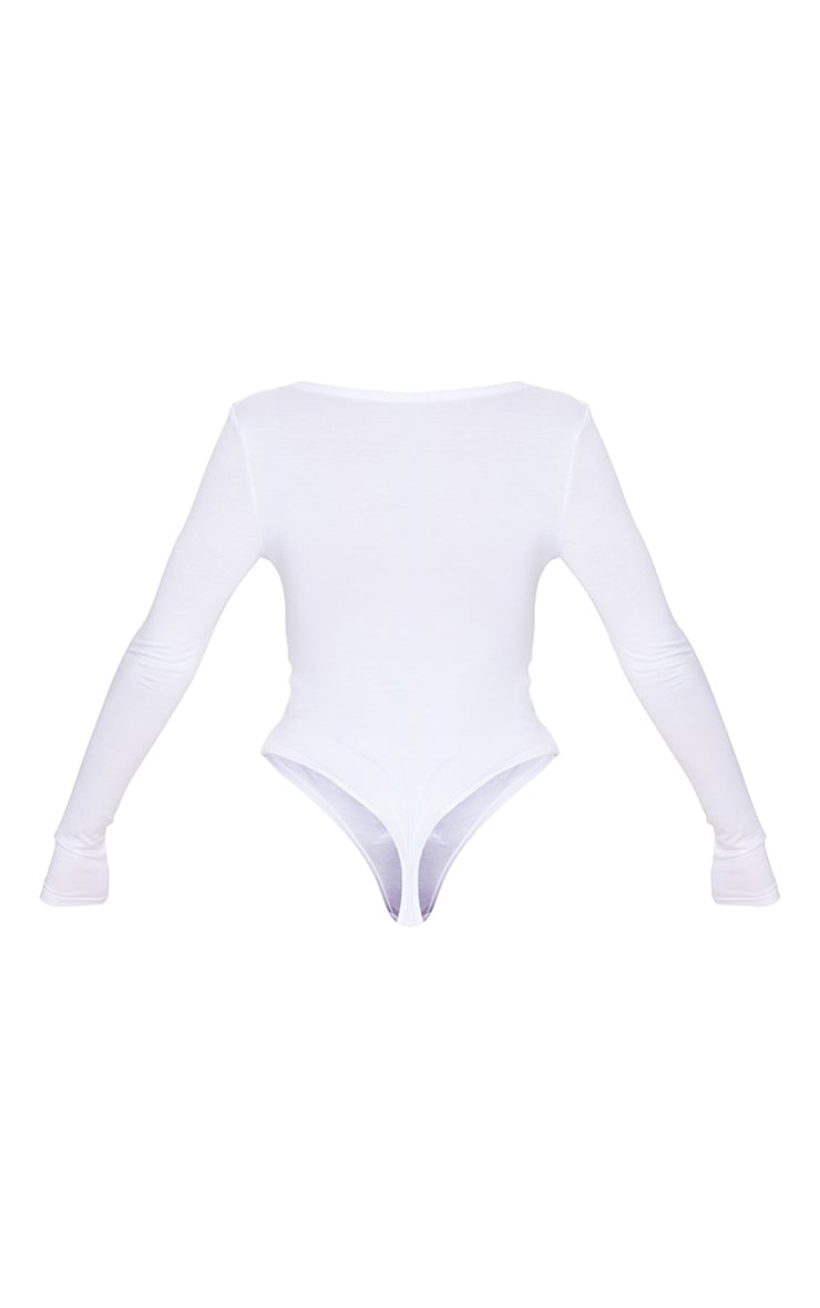 White Jersey V Neck Long Sleeve Thong Bodysuit  6