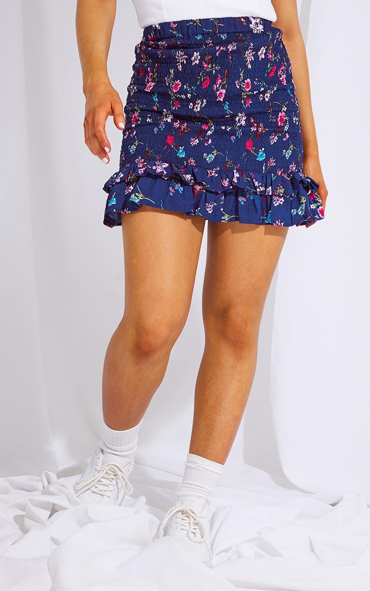 Navy Woven Shirred Frill Hem Mini Skirt 2