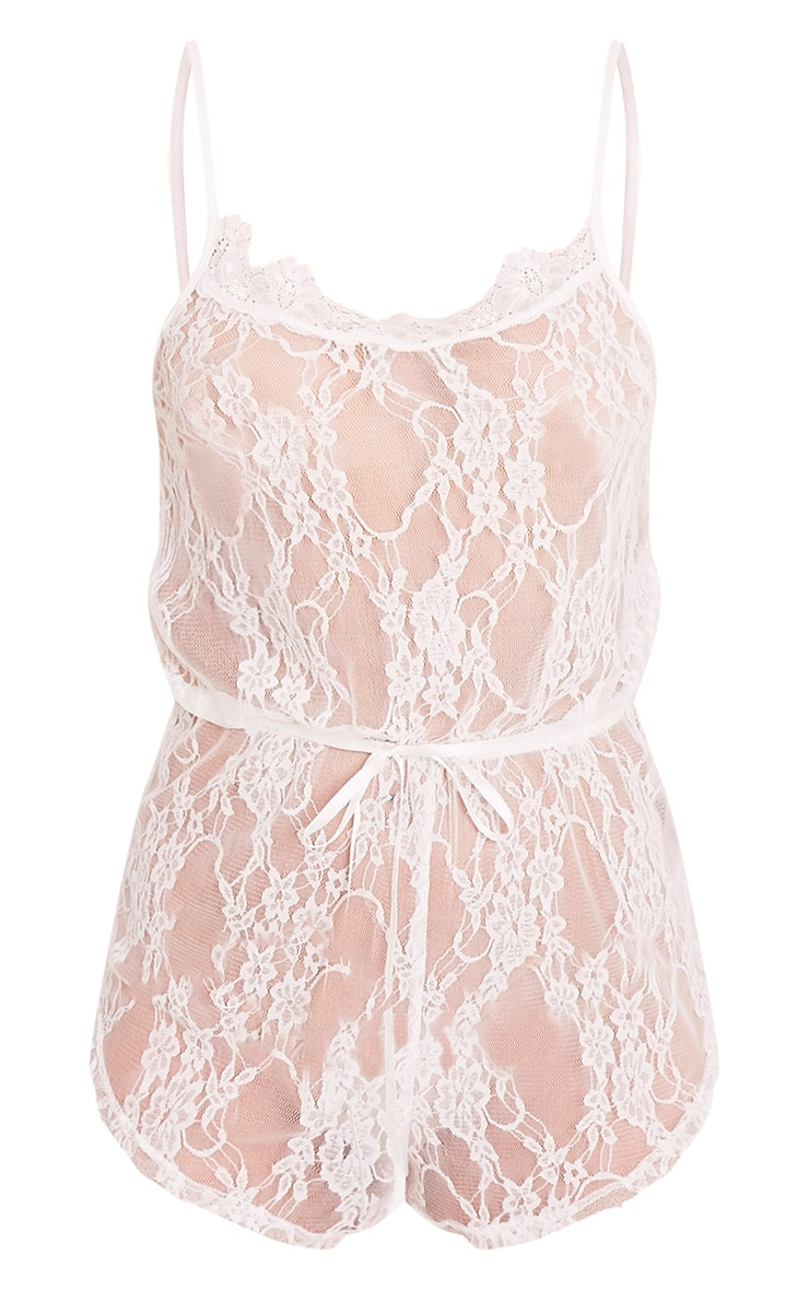 Sanny White Lace Teddy Nightsuit 5