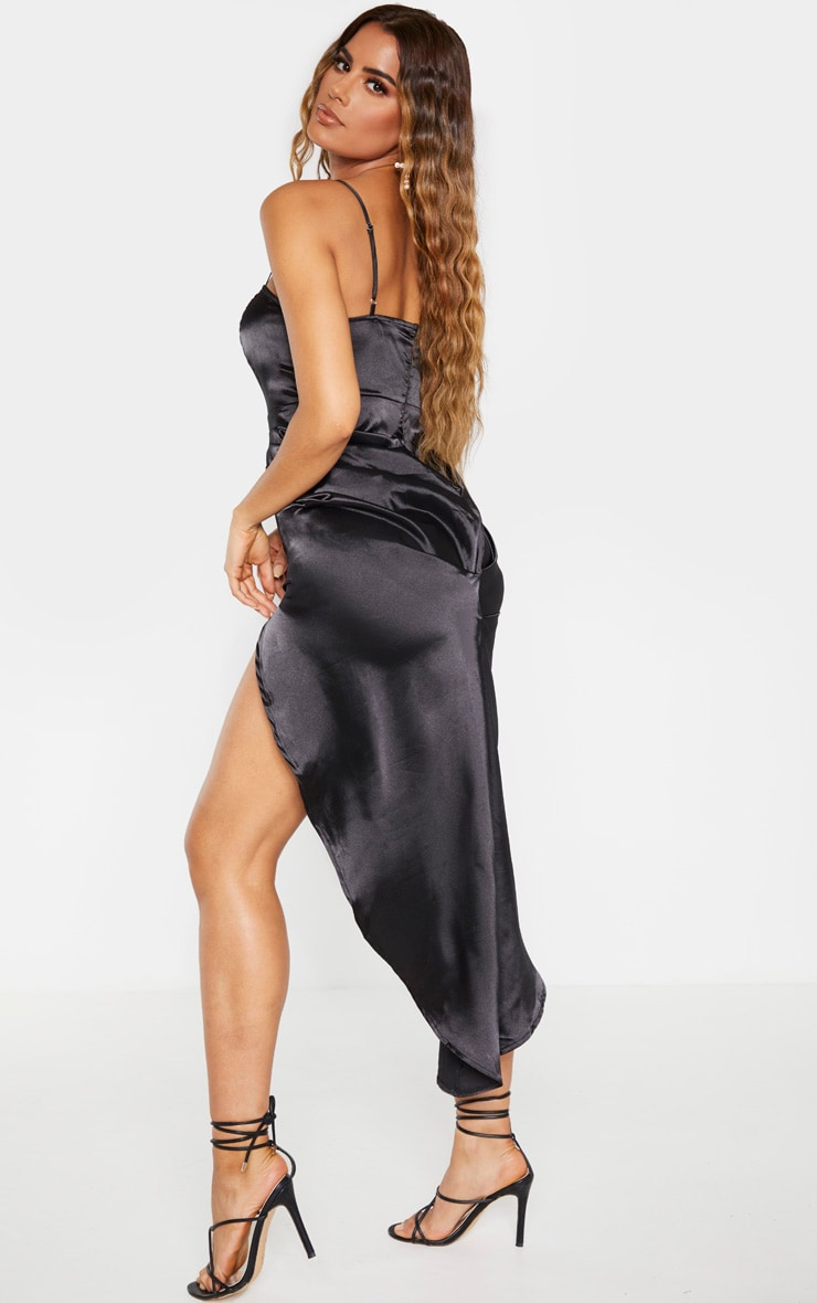 Tall Black Ruched Side High Split Satin Midi Dress  2