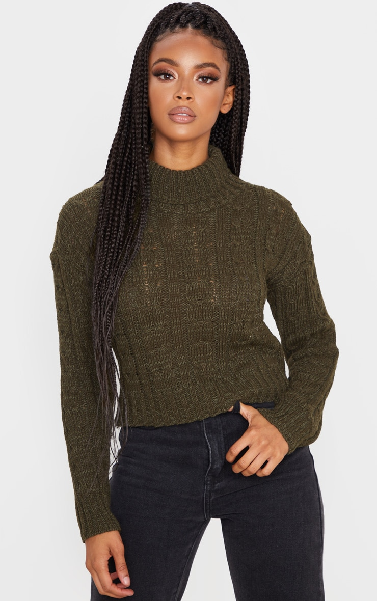 Khaki All Over Cable Knit Roll Neck Crop Sweater 5