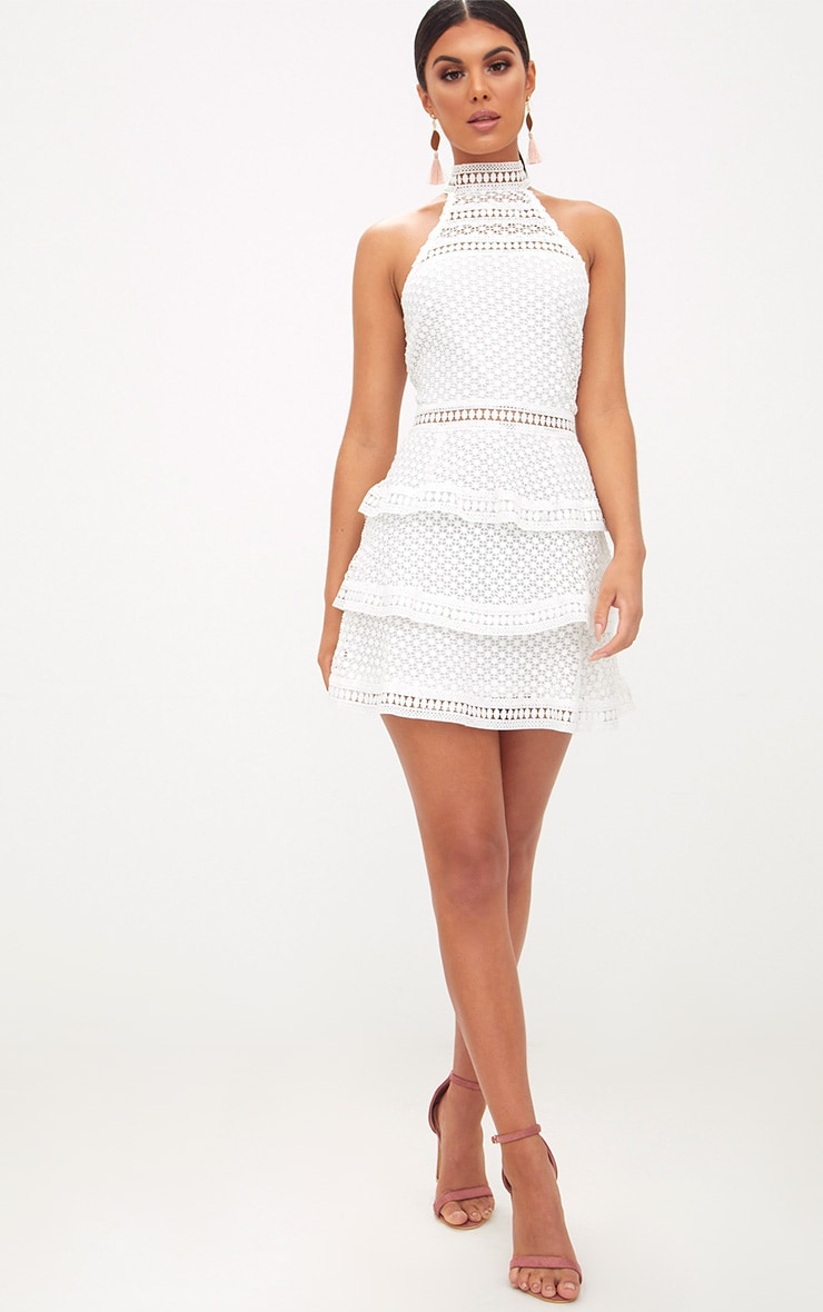 White Lace Panel Tiered Mini Dress 3