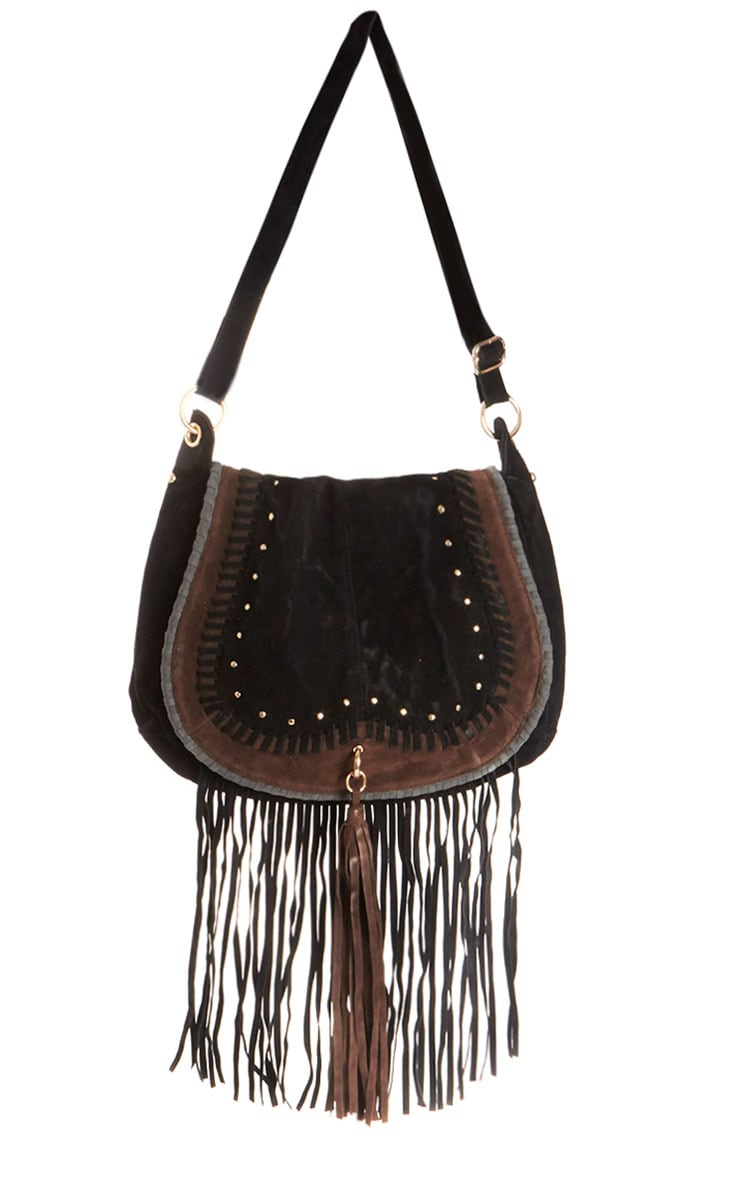 Freya Black Suede Fringe Bag 1