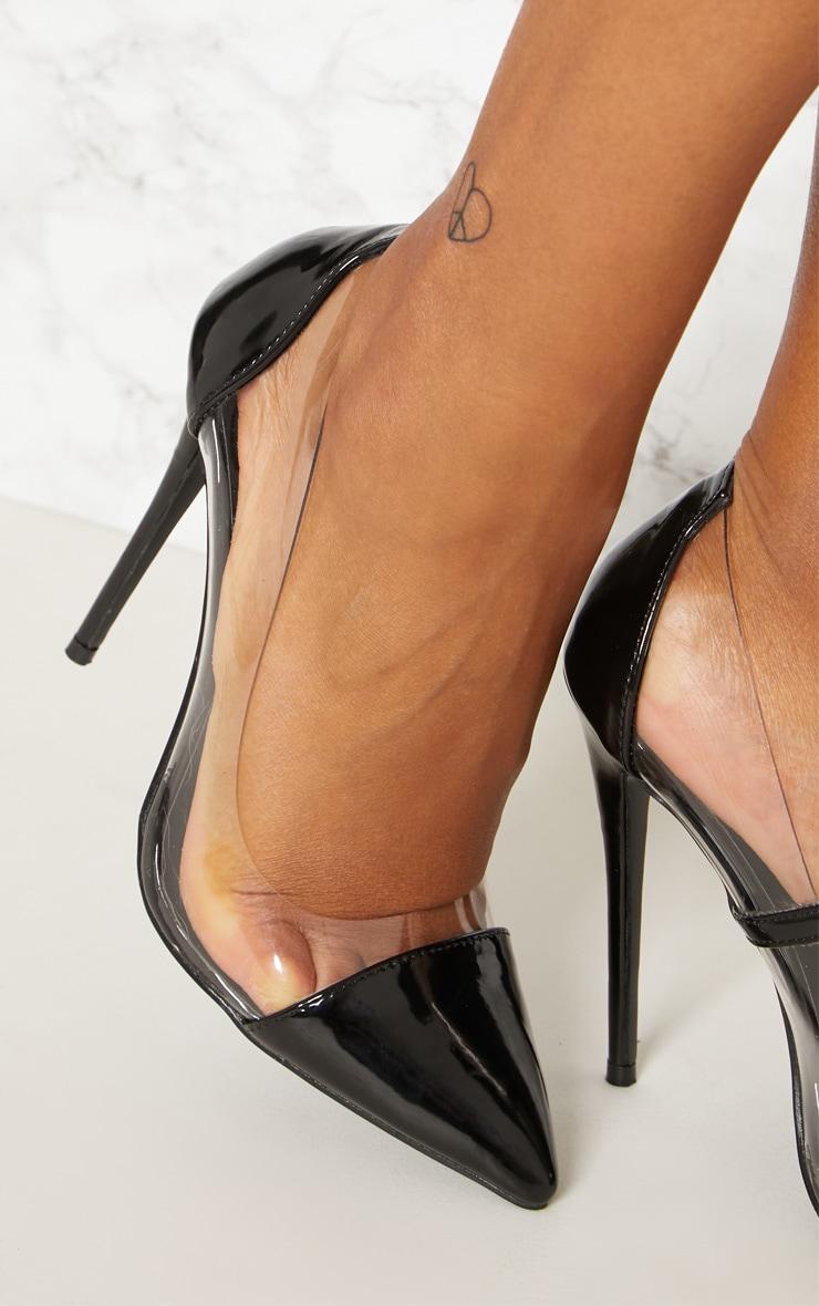 Black Patent Clear Court Shoes  4