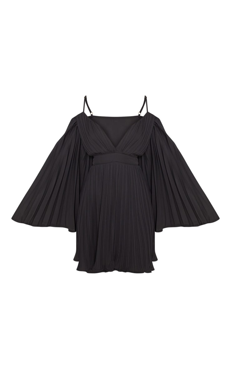 Black Pleated Flared Sleeve Skater Dress 3