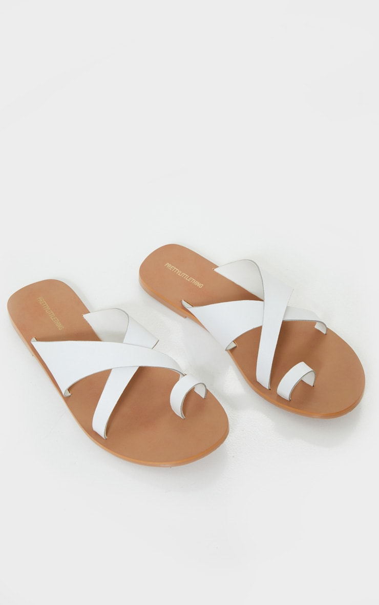 White Wide Fit Leather Cross Strap Toe Loop Sandals 3