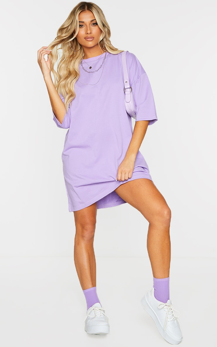 PRETTYLITTLETHING Lilac Graphic Oversized Short Sleeve T Shirt Dress 3
