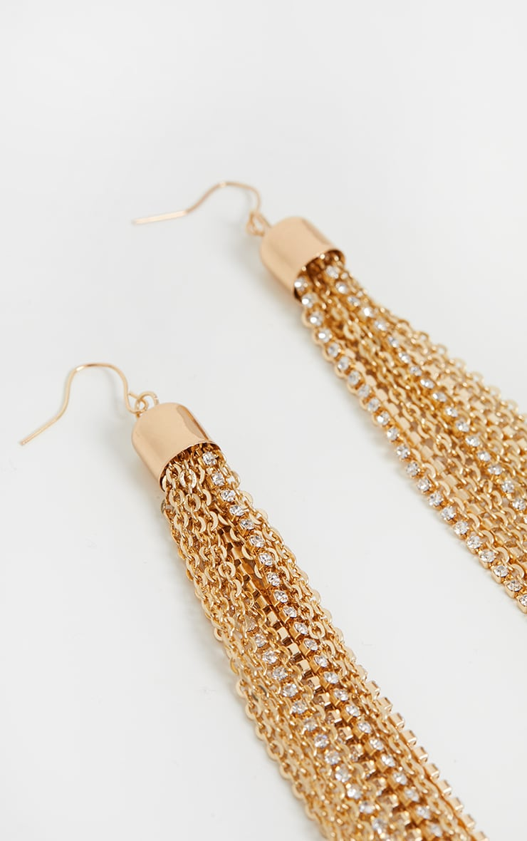 Gold Extra Long Tassel Chain Earrings 3