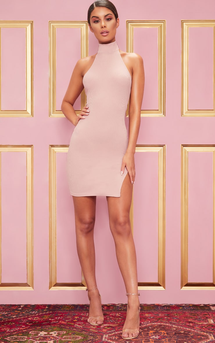 Rose Ribbed High Neck Split Detail Bodycon Dress