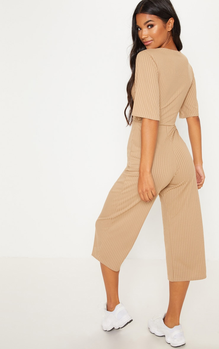 Deep Stone Ribbed Twist Detail Culotte Jumpsuit 2