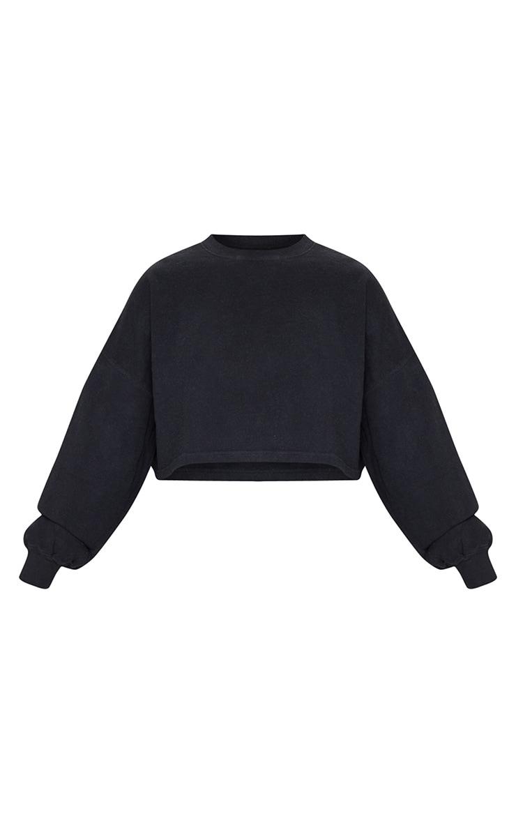 Black Washed Oversized Crop Sweater 5