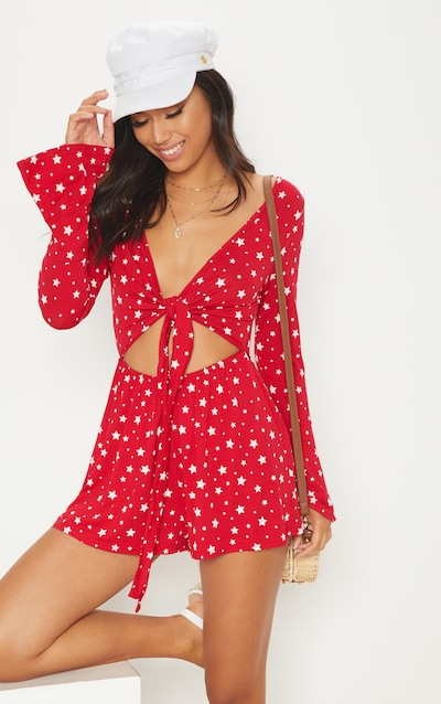 63bdd32f581 Red Star Printed Tie Front Playsuit