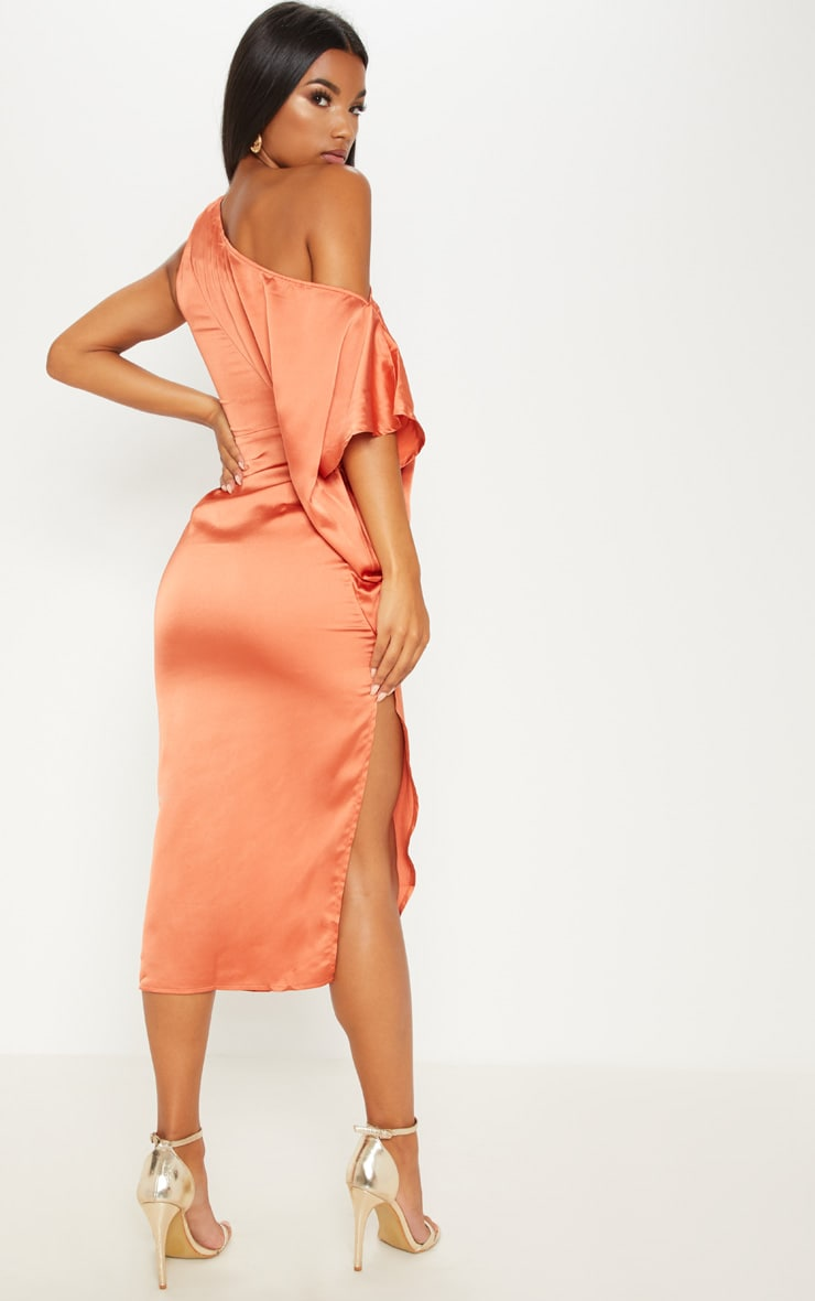 Rust Satin One Shoulder Cape Sleeve Midi Dress 2