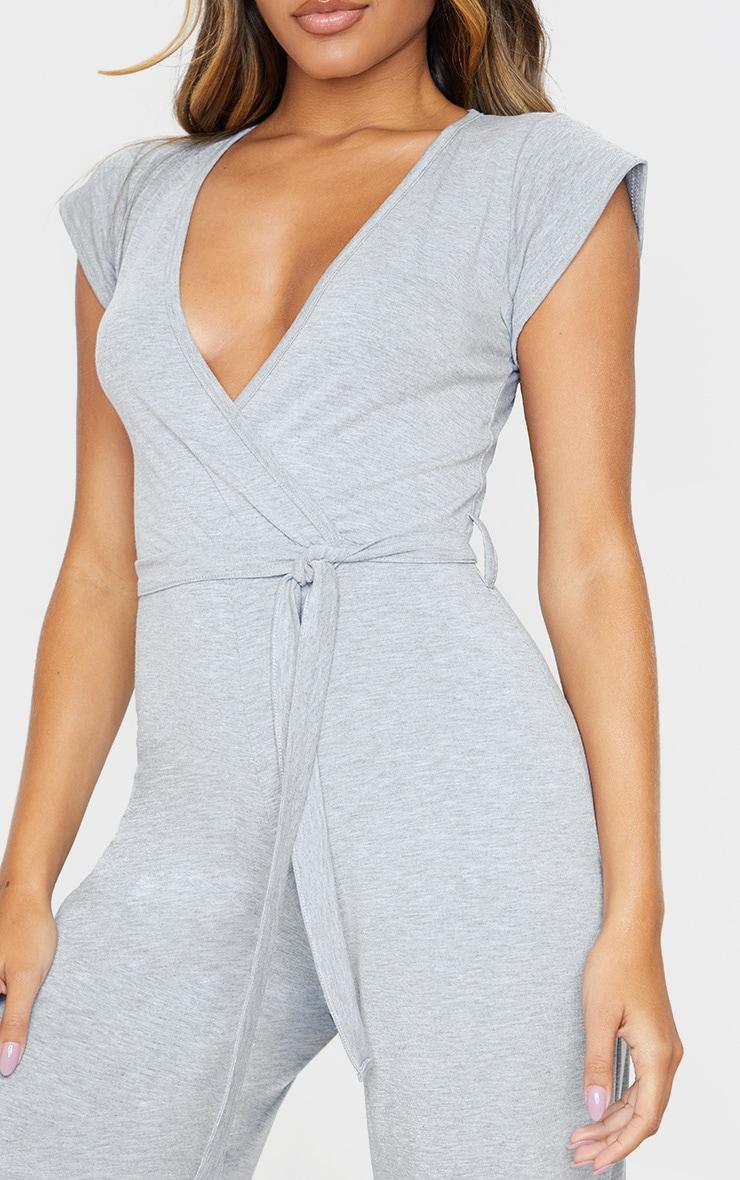 Grey Marl Wrap Culotte Jumpsuit 5