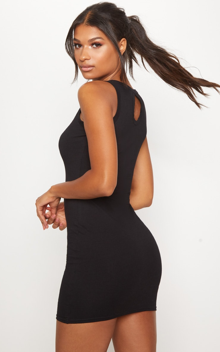 PRETTYLITTLETHING Black Embroidered Sleeveless Bodycon Dress 2