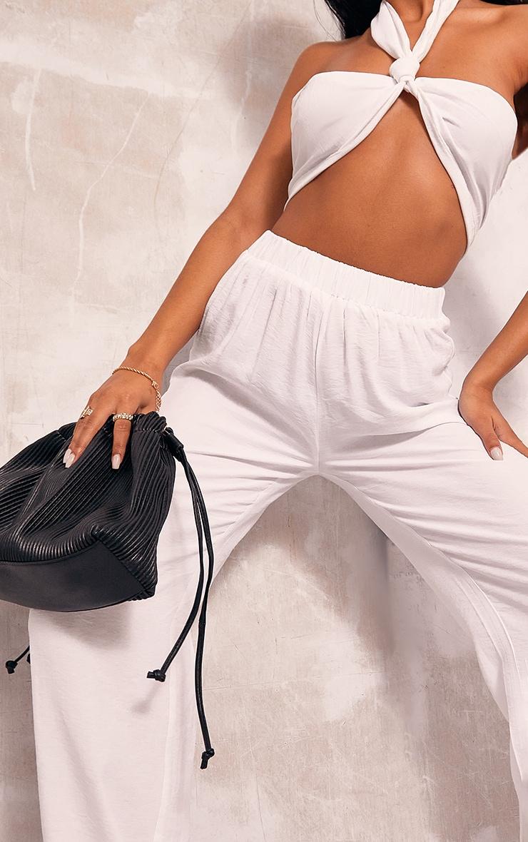 White Woven Elasticated Waist Wide Leg Pants 4