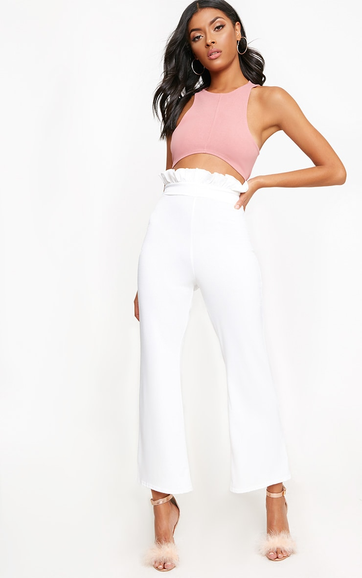 White Paperbag Waist Kick Flare Trousers 1
