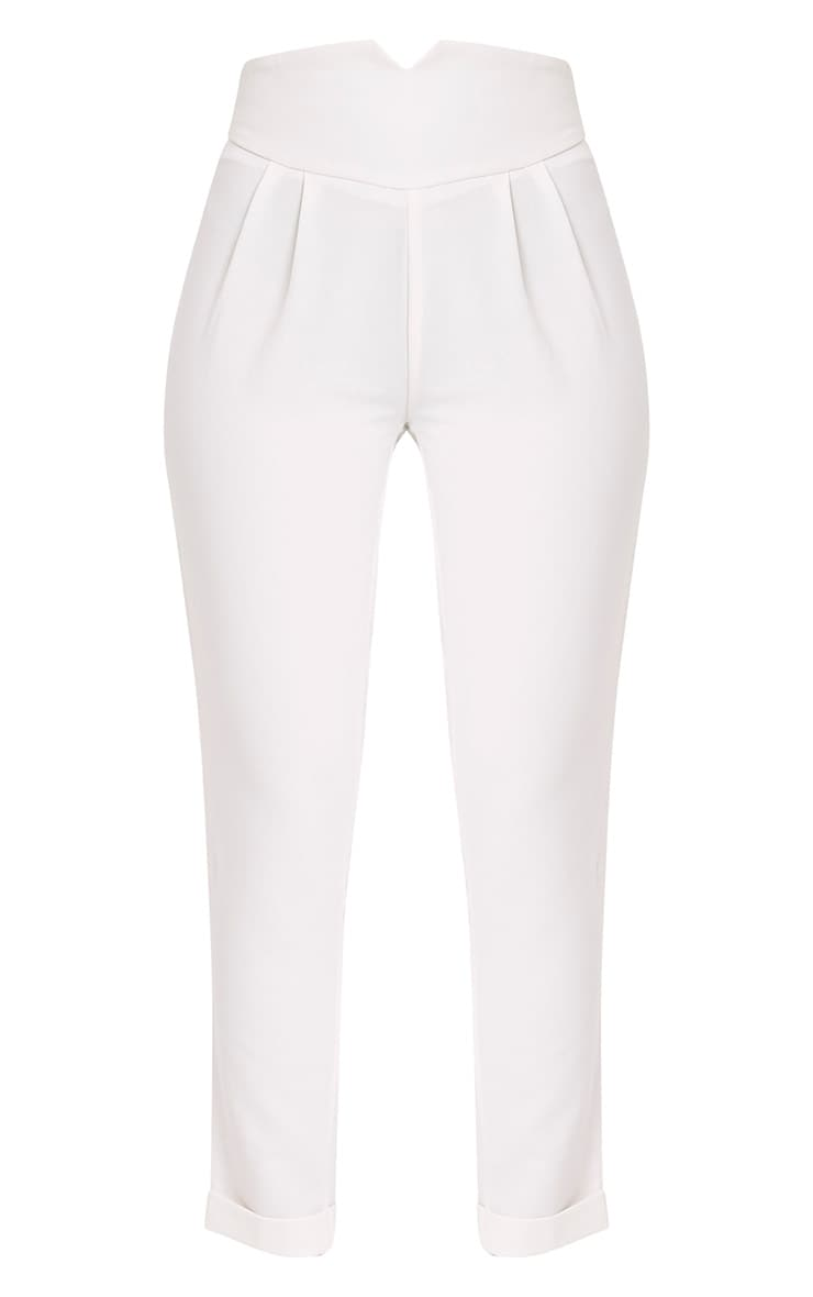 Elenor White High Waisted Tapered Trousers 3