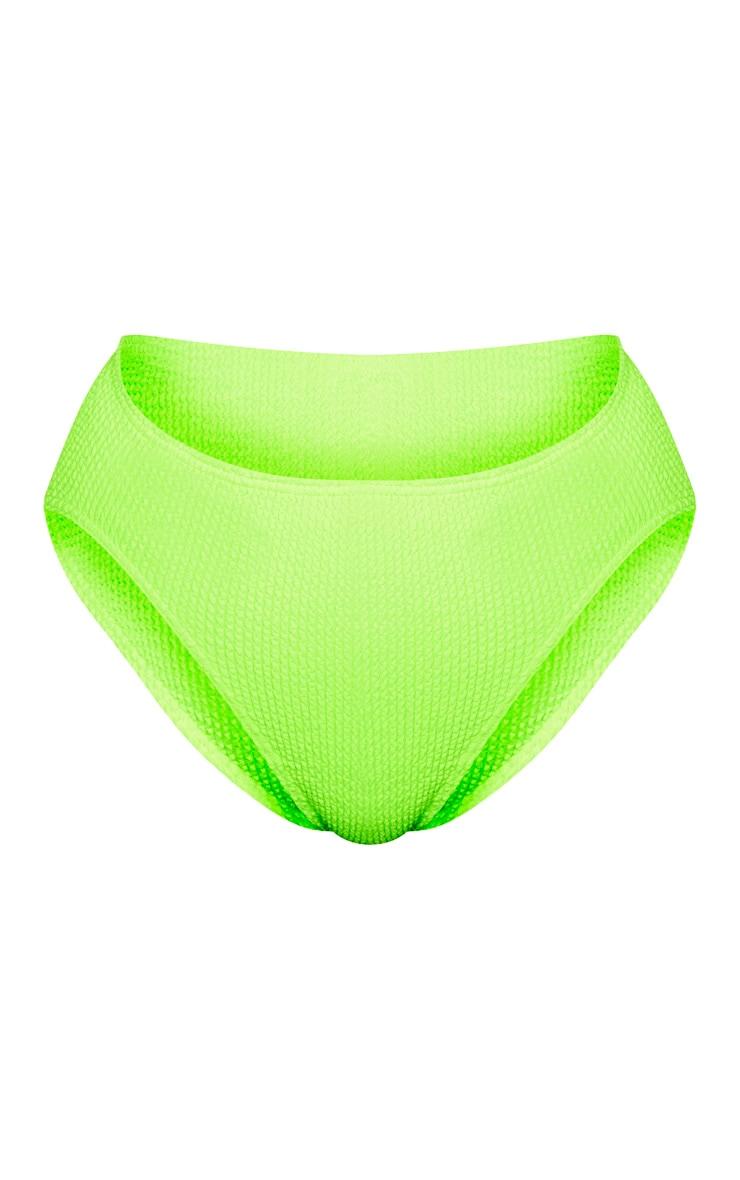 Neon Lime Crinkle High Waist Bikini Bottom 6