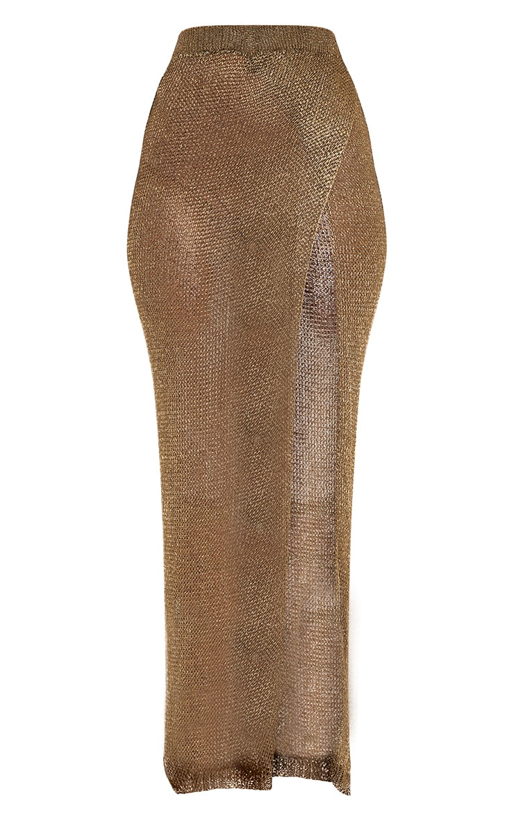 Fefe Gold Metallic Knit Wrap Maxi Skirt 3