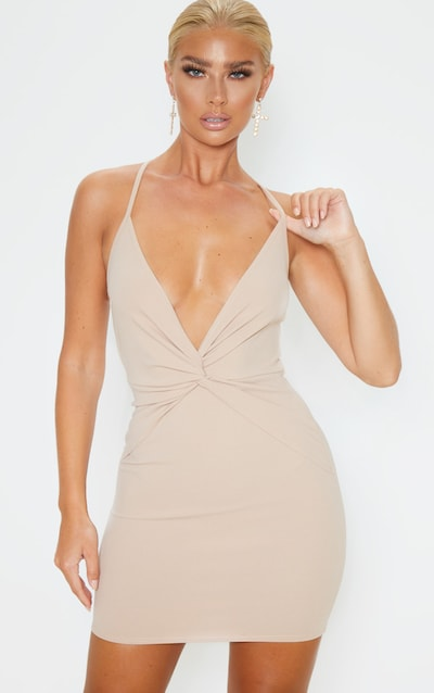 Nude Strappy Knot Front Bodycon Dress