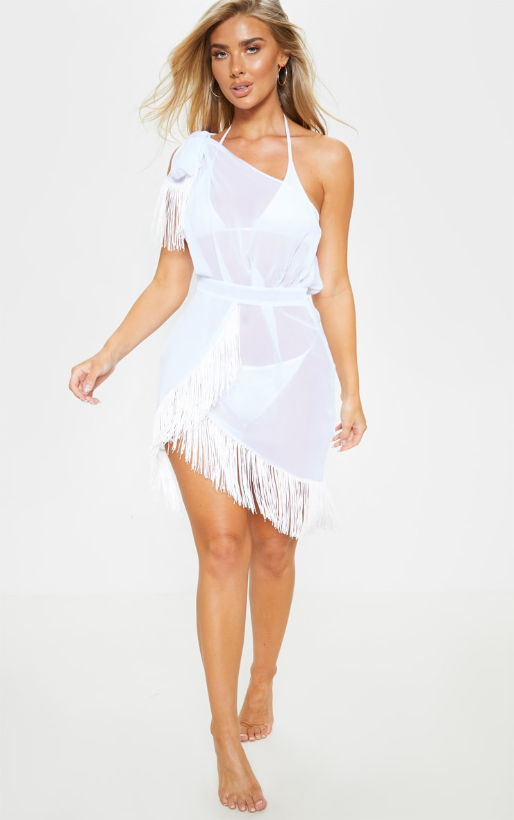 White Asymmetric Fringe Beach Dress 4