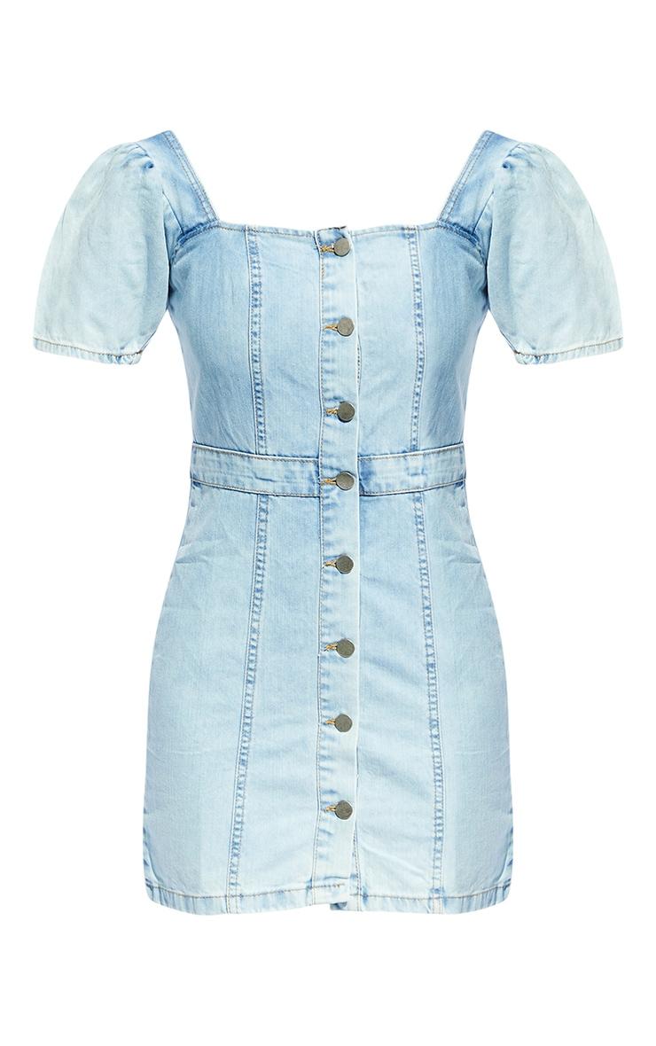 Light Blue Wash Button Through Denim Dress 5