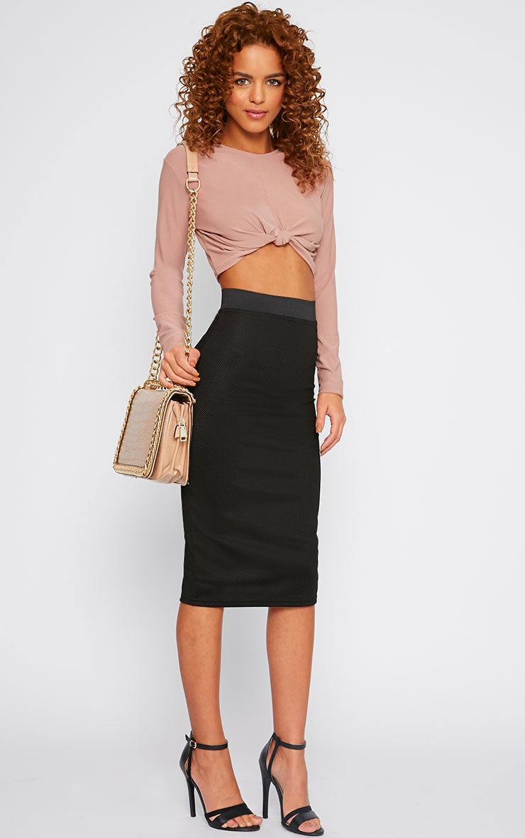 Dott Black Textured Midi Skirt 1