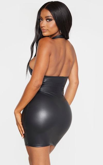 Shape Black PU Halterneck Bodycon Dress