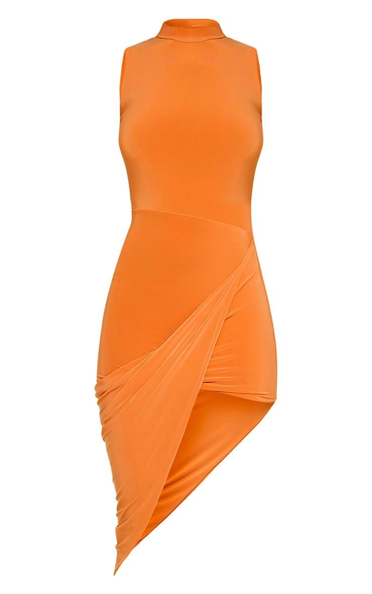Prim Bright Orange Slinky Drape Asymmetric Dress 6