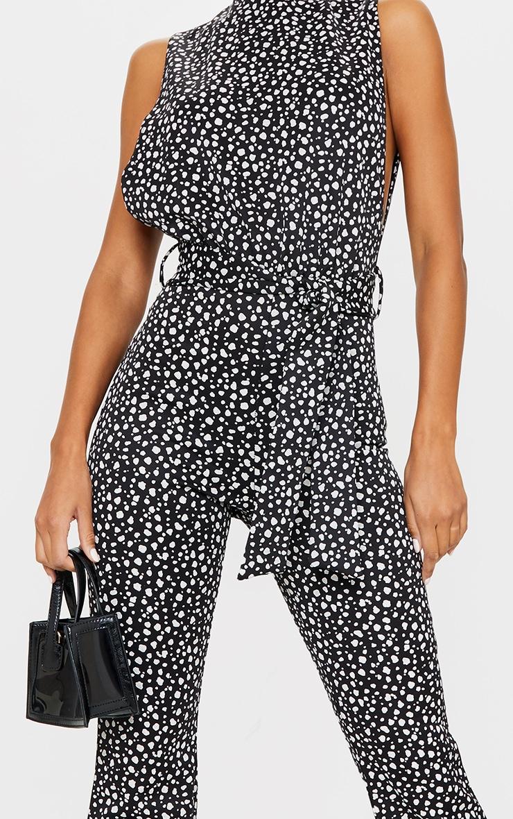 Black Dalmatian Print Scuba High Neck Tie Waist Jumpsuit 4
