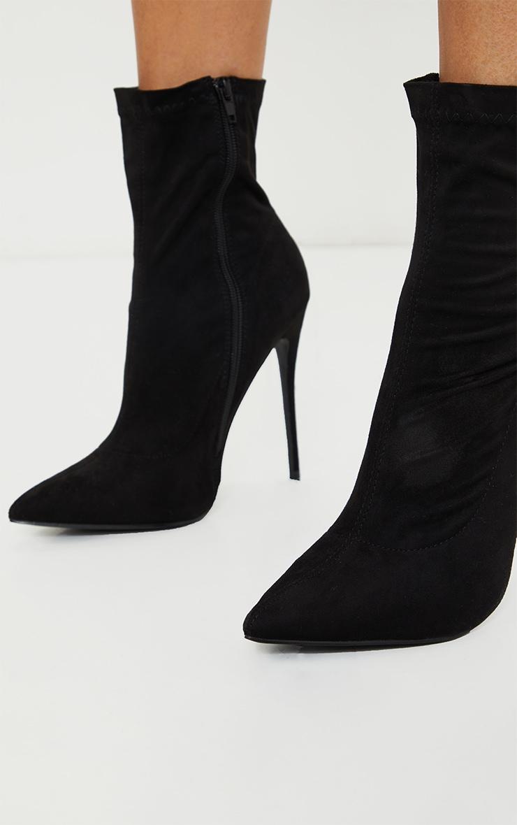 Black High Point Stiletto Sock Boot 3