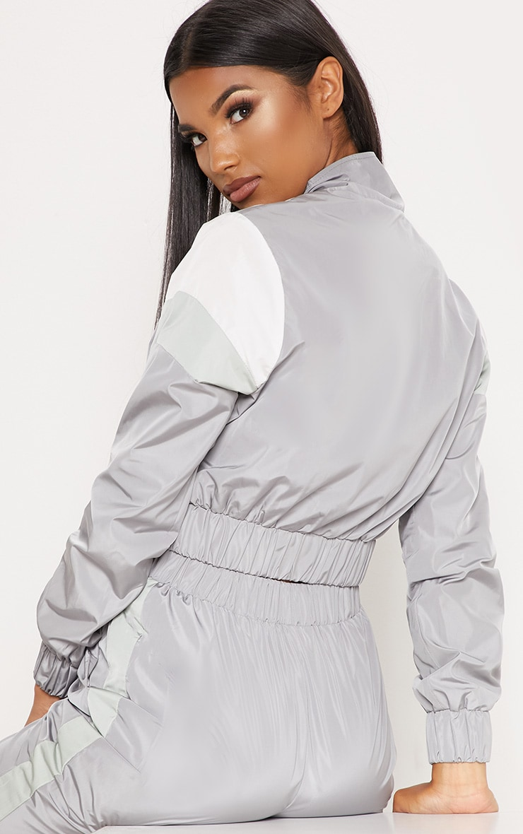 Grey Stripe Shell Tracksuit Top 2
