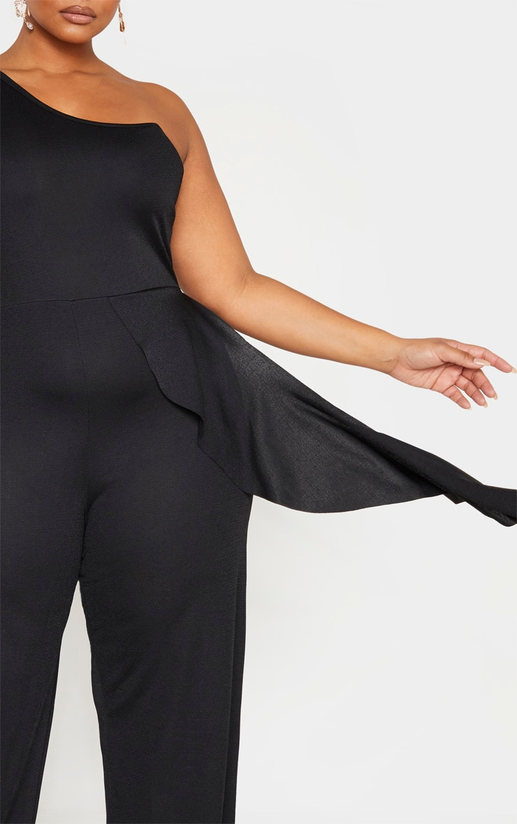 Plus Black One Shoulder Frill Detail Wide Leg Jumpsuit 5