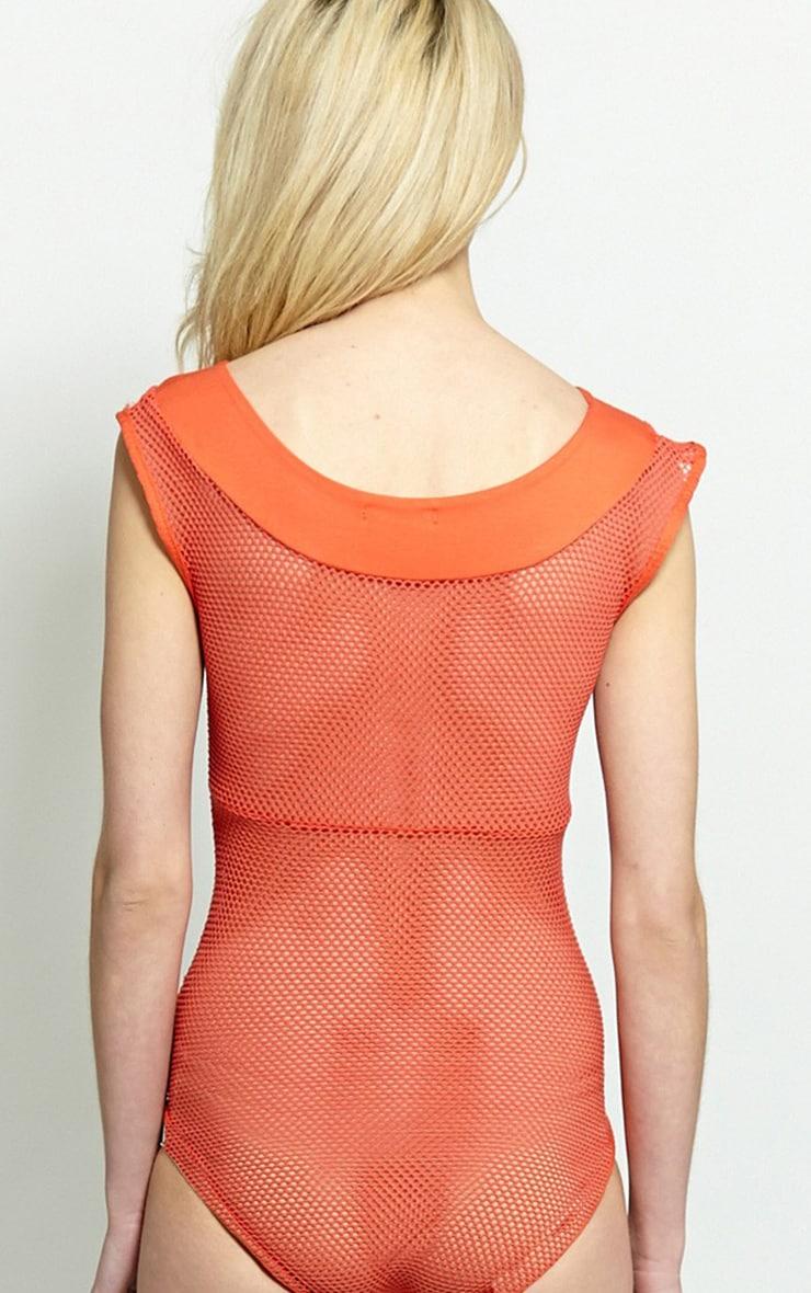 Dixie Orange Mesh Bodysuit 2