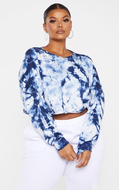 Plus Navy Grey Tie Dye Crop Sweater