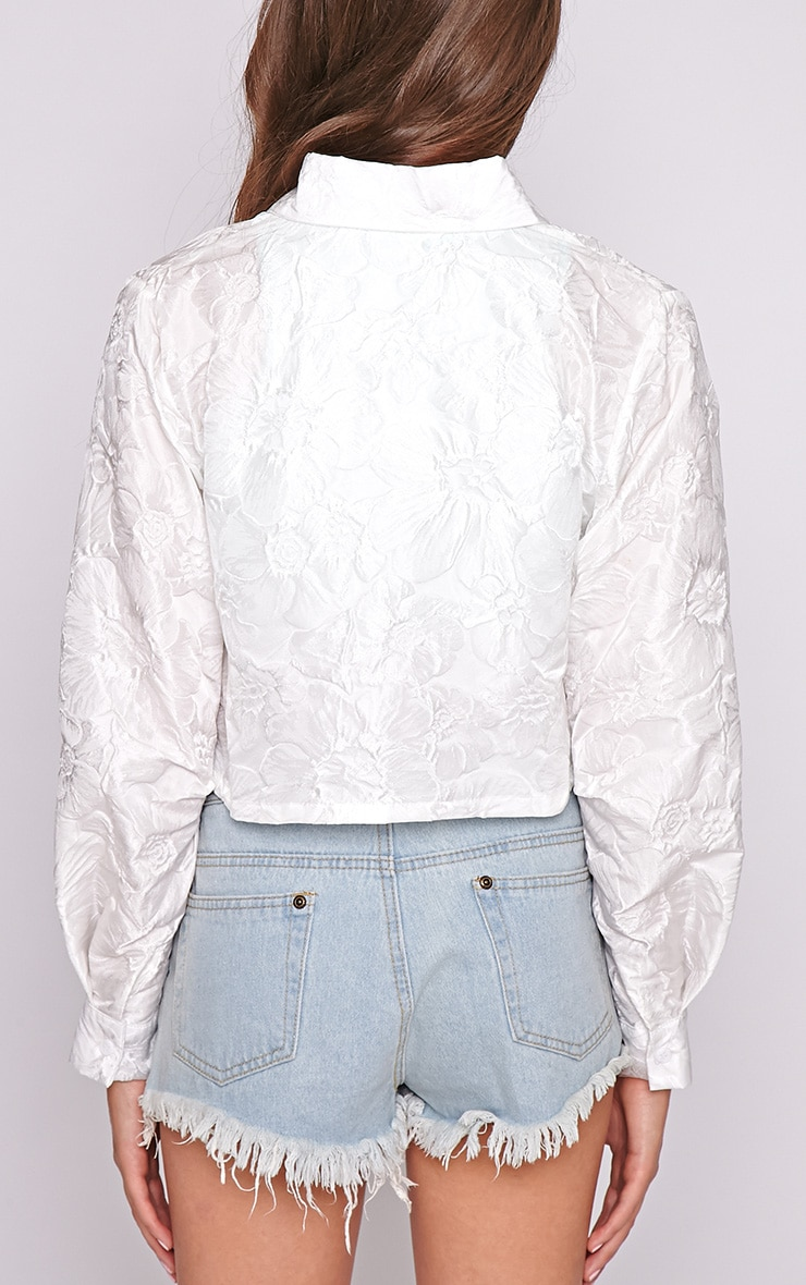 Romy White Oversized Cropped Shirt 2