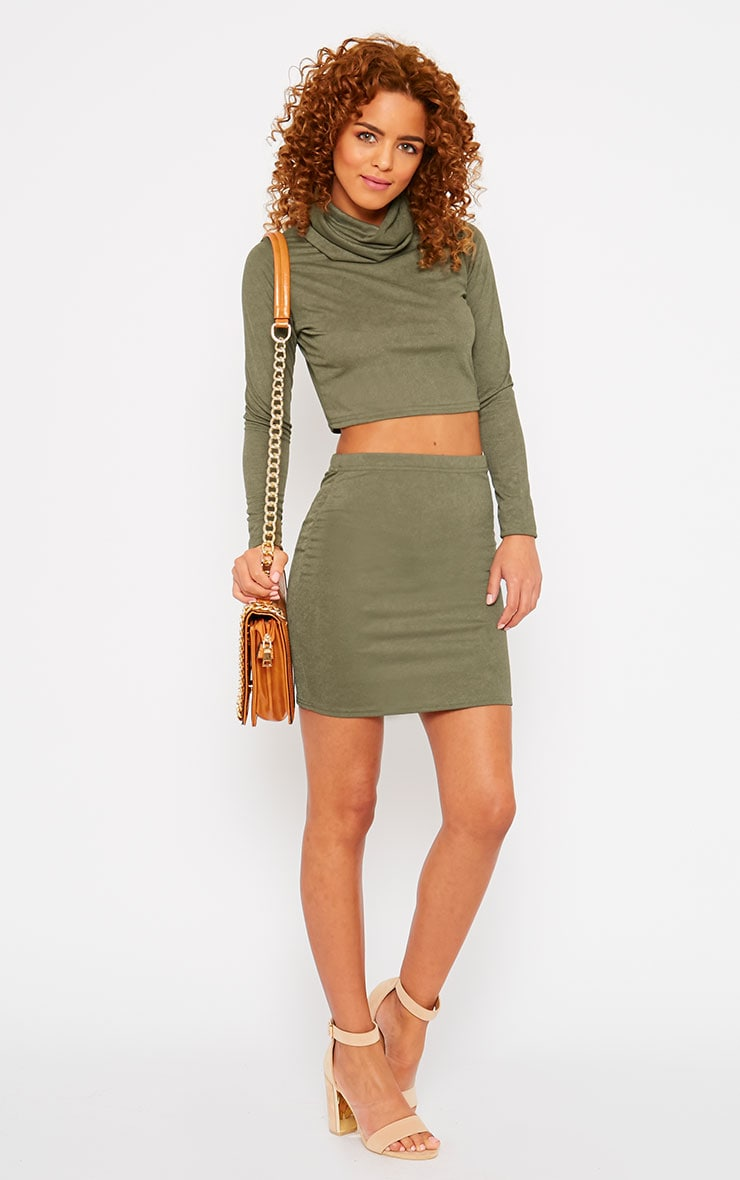 Emilia Khaki Crepe Roll Neck Crop Top  3