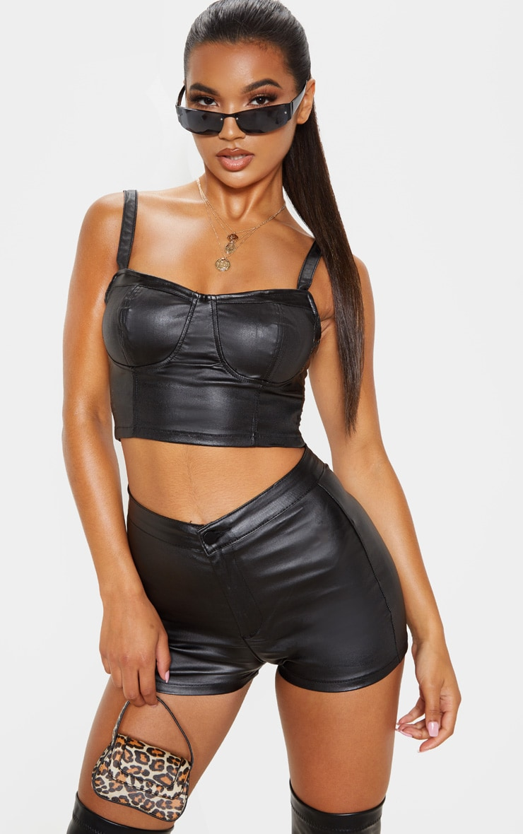 Black Coated Cropped Bralet 1