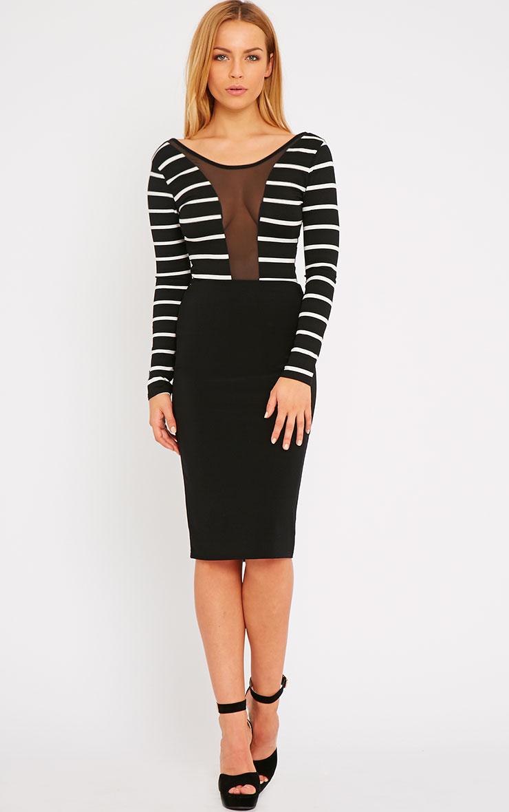 Aleskia Black Stripe Mesh Insert Bodysuit 3