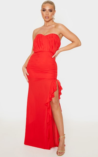Red Bandeau Ruched Frill Maxi Dress