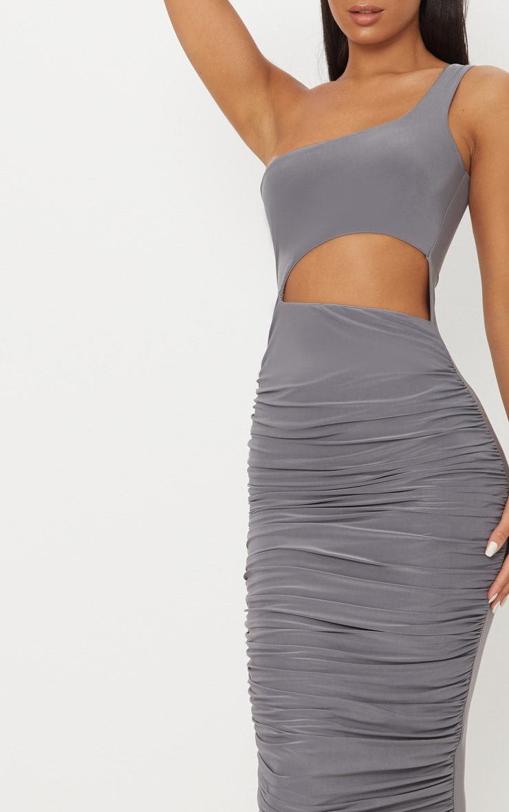 Charcoal Grey Double Layer Slinky One Shoulder Cut Out Detail Ruched Midaxi Dress  5